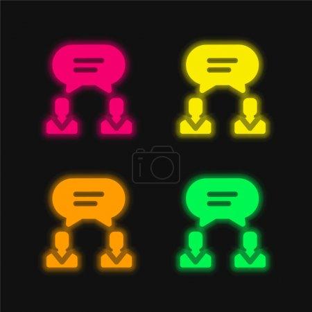 Illustration pour Accord quatre couleur brillant icône vectorielle néon - image libre de droit
