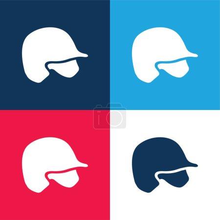 Illustration pour Casque de baseball bleu et rouge quatre couleurs minimum jeu d'icônes - image libre de droit