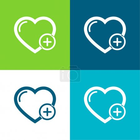 Add A Heart Or A Like Flat four color minimal icon set