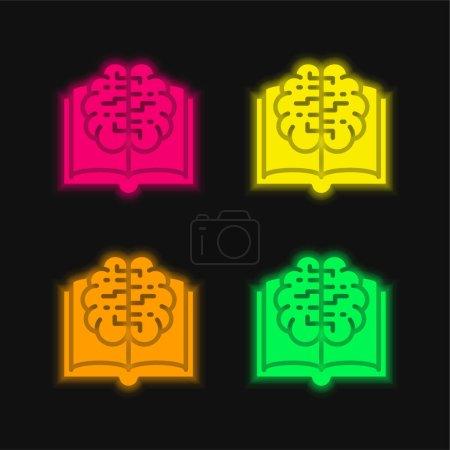 Buch vier Farbe leuchtenden Neon-Vektor-Symbol
