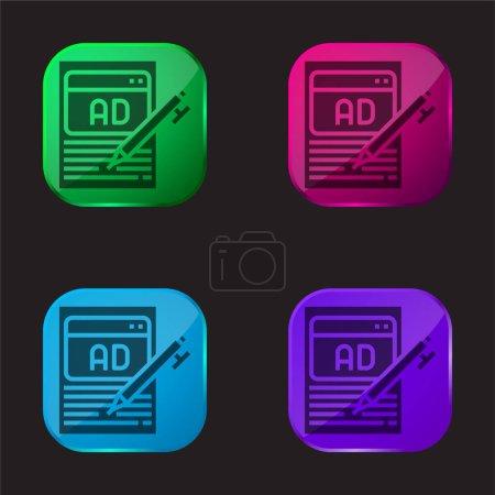 Publicité icône bouton en verre quatre couleurs