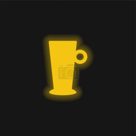 Big Cup yellow glowing neon icon
