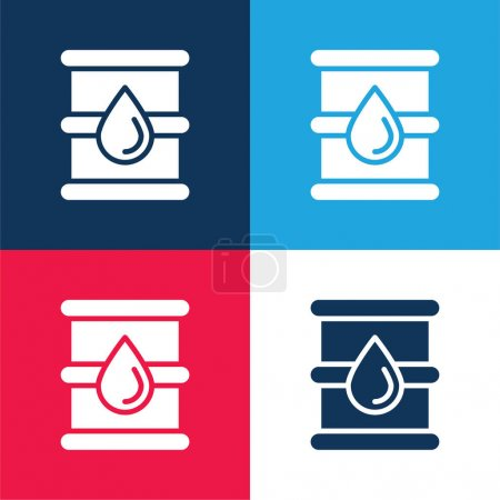 Barrel blue and red four color minimal icon set