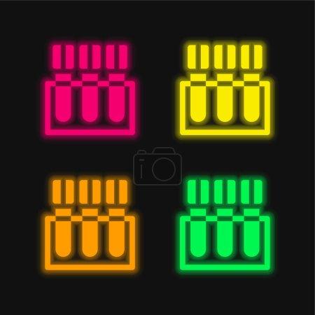 Illustration pour Test sanguin quatre couleur brillant icône vectorielle néon - image libre de droit
