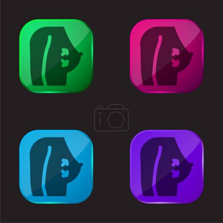 Illustration for Breast four color glass button icon - Royalty Free Image