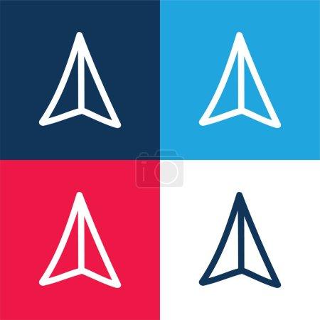 Illustration pour Flèche pointant vers le haut main dessiné Symbole bleu et rouge quatre couleurs minimum jeu d'icônes - image libre de droit