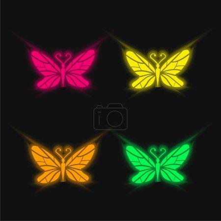 Illustration pour Black Butterfly Top View With Lines Wings Design icône vectorielle néon rayonnante de quatre couleurs - image libre de droit
