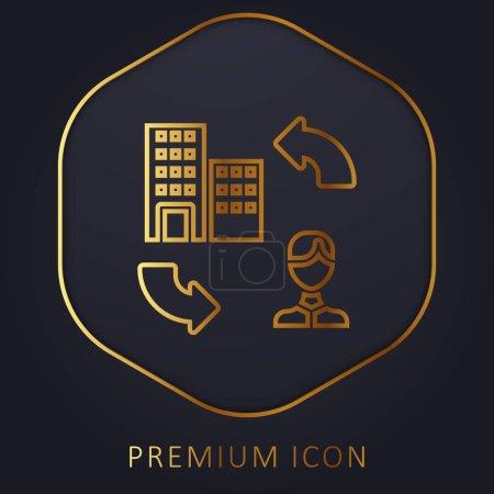 Illustration pour B2c ligne d'or logo premium ou icône - image libre de droit