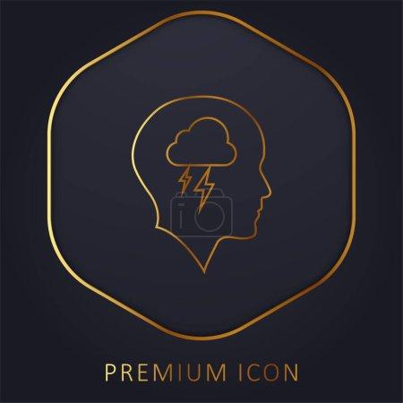 Illustration pour Tête chauve avec nuage et tempête ligne d'or logo premium ou icône - image libre de droit