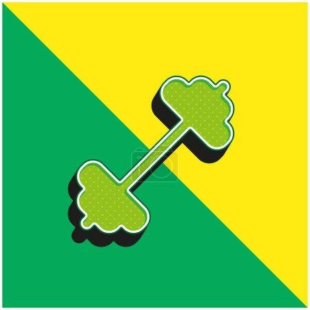 Illustration pour Barbell Logo vectoriel 3D moderne vert et jaune - image libre de droit
