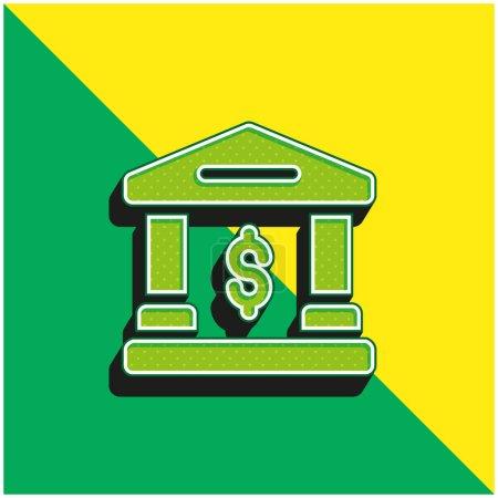 Photo pour Logo de l'icône vectorielle 3D moderne Bank Green et jaune - image libre de droit