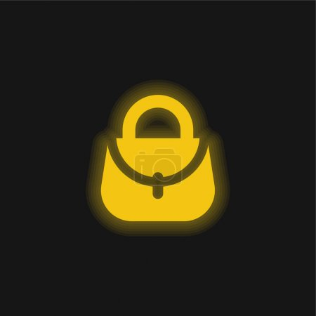 Illustration for Bag yellow glowing neon icon - Royalty Free Image