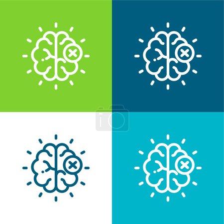Photo pour Cerveau plat quatre couleurs minimum jeu d'icônes - image libre de droit