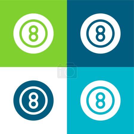 Illustration pour Billard plat quatre couleurs minimum jeu d'icônes - image libre de droit