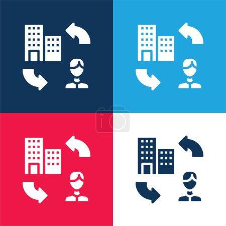 Illustration pour B2c bleu et rouge quatre couleurs minimum jeu d'icônes - image libre de droit
