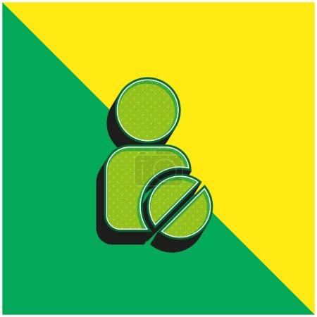 Illustration pour Ban User Logo vectoriel 3D moderne vert et jaune - image libre de droit