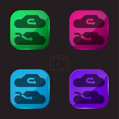 Illustration pour Climatiseur icône bouton en verre quatre couleurs - image libre de droit