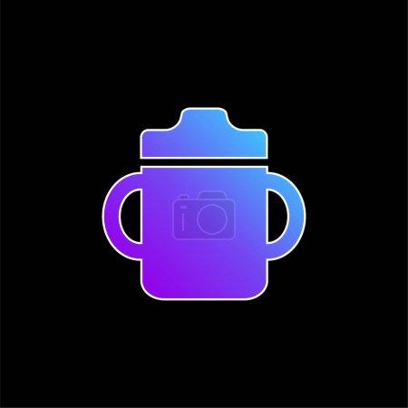Photo pour Bébé bouteille à boire avec poignée sur les deux côtés icône vectorielle dégradé bleu - image libre de droit