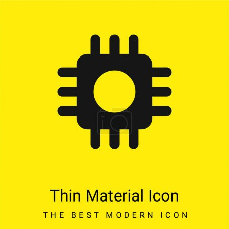 Illustration for Big Processor minimal bright yellow material icon - Royalty Free Image
