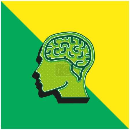 Brain Green and yellow modern 3d vector icon logo