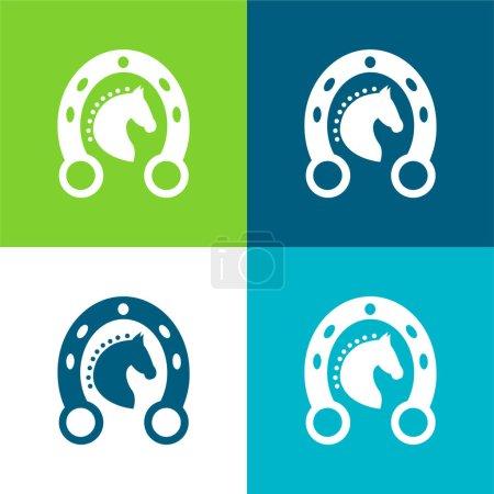 czarny głowa koń w a podkowy płaski cztery kolor minimalny ikona zestaw