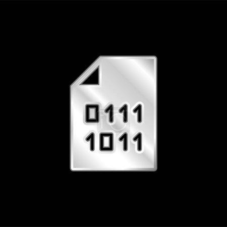 Binary Code silver plated metallic icon