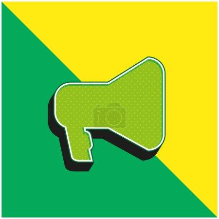 Photo pour Silhouette d'outil d'amplification en noir vert et jaune moderne logo icône vectorielle 3d - image libre de droit