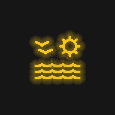 Foto de Playa vista de mar sol y gaviotas pareja amarillo brillante neón icono - Imagen libre de derechos