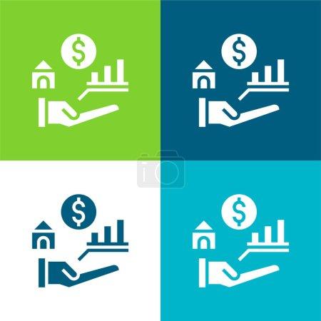 Illustration pour Avantages Ensemble d'icônes minimal plat quatre couleurs - image libre de droit