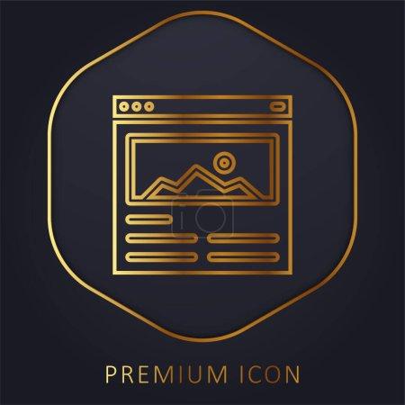 Illustration for Blog golden line premium logo or icon - Royalty Free Image