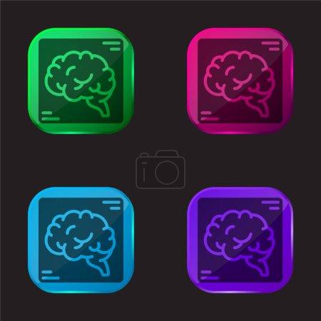Brain four color glass button icon