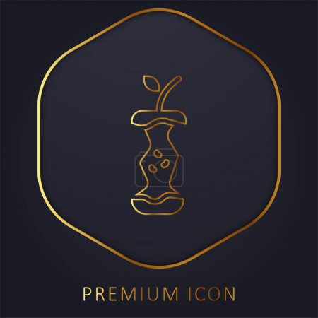 Illustration for Apple golden line premium logo or icon - Royalty Free Image