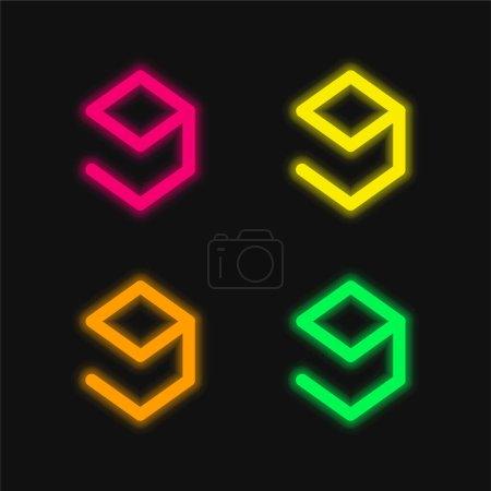 9gag Logo four color glowing neon vector icon