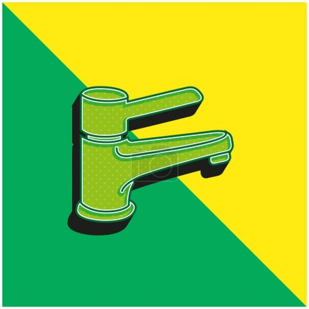 Bathroom Tap Tool To Control Water Supply Green and yellow modern 3d vector icon logo