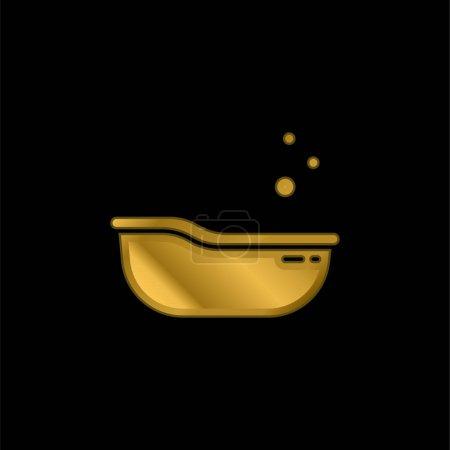 Photo pour Baignoire bébé plaqué or icône métallique ou logo vecteur - image libre de droit