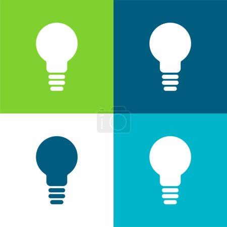Illustration pour Symbole d'ampoule noire Ensemble d'icônes minimal plat à quatre couleurs - image libre de droit