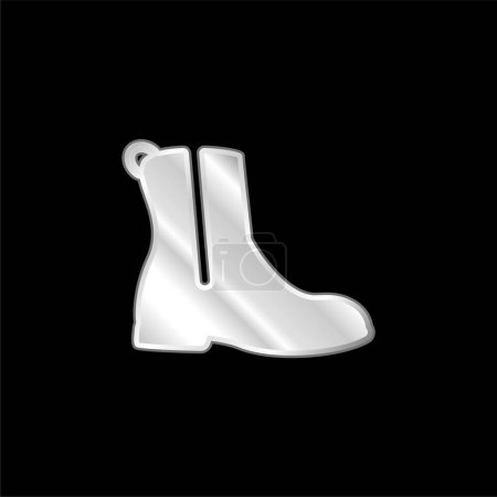 Boot With Zipper silver plated metallic icon