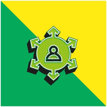 Illustration pour Marketing affilié Logo vectoriel 3d moderne vert et jaune - image libre de droit