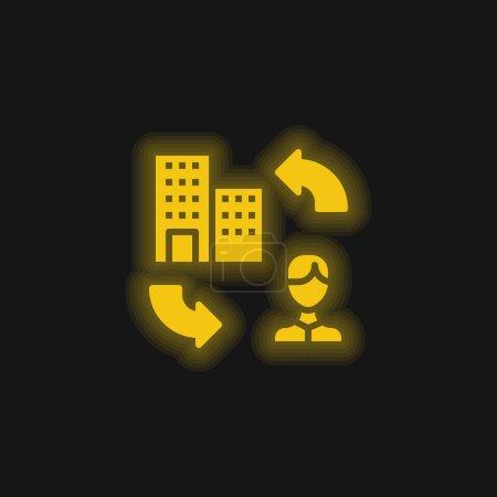 Illustration pour Icône néon jaune B2c - image libre de droit