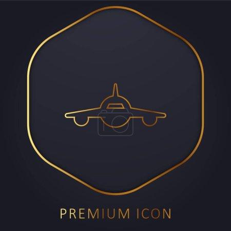 Illustration pour Avion Frontal View golden line logo premium ou icône - image libre de droit