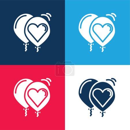Illustration pour Ballons bleu et rouge quatre couleurs minimum jeu d'icônes - image libre de droit