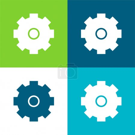 Illustration for Big Cogwheel Flat four color minimal icon set - Royalty Free Image