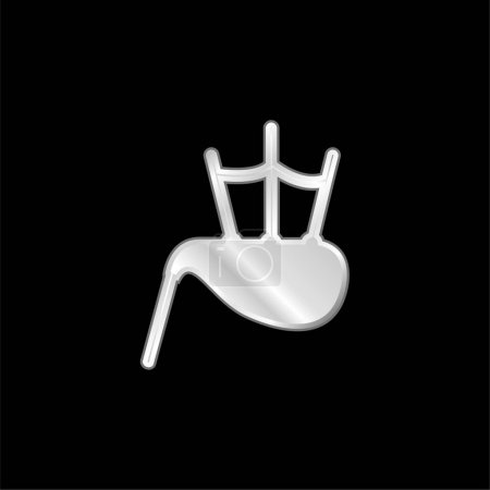 Illustration for Bag Pipe silver plated metallic icon - Royalty Free Image