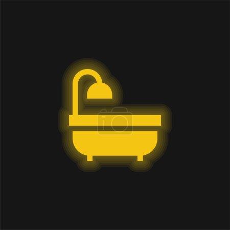 Baignoire jaune brillant icône néon