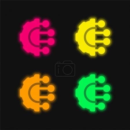 Illustration for Artificial Intelligence four color glowing neon vector icon - Royalty Free Image