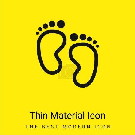 Empreintes de bébé icône matérielle jaune vif minimale