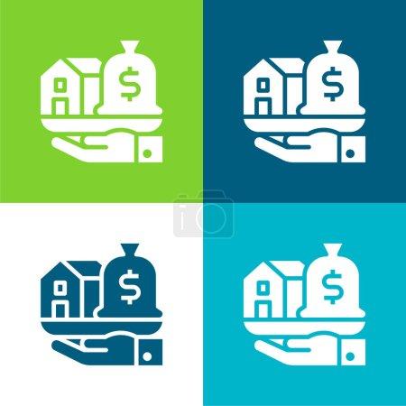 Illustration pour Asset Set d'icônes minimal plat quatre couleurs - image libre de droit