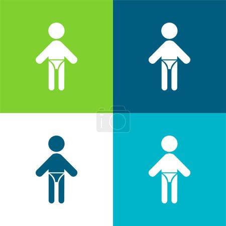 Illustration pour Bébé avec couche Ensemble d'icônes minimal plat quatre couleurs - image libre de droit