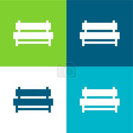 Photo pour Banc plat quatre couleurs minimum icône ensemble - image libre de droit