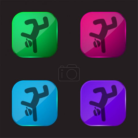 Breakdancer four color glass button icon